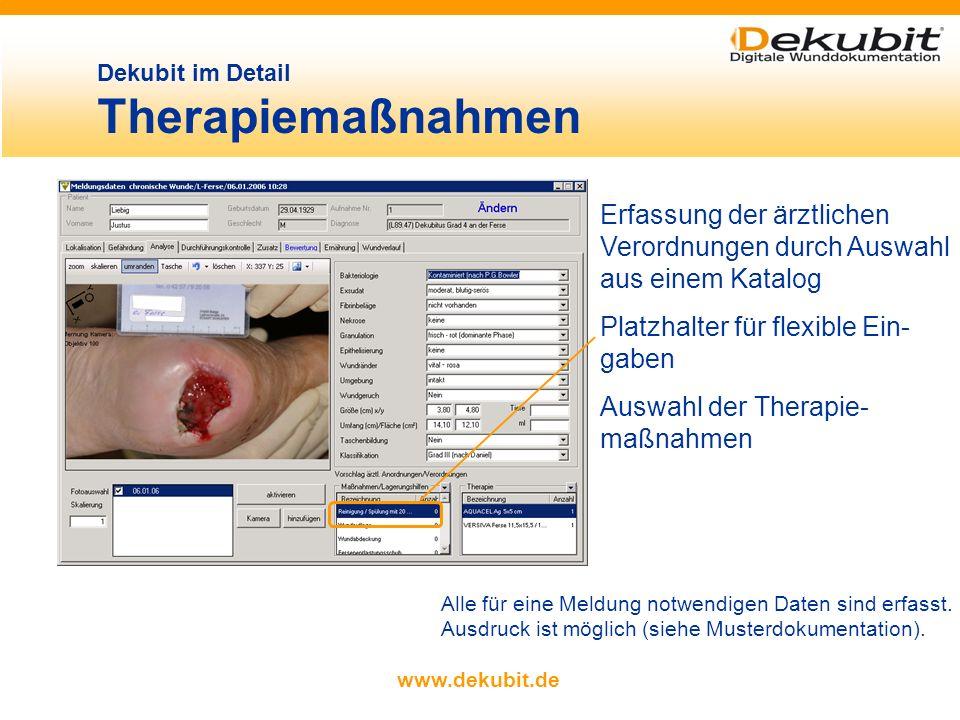 www.dekubit.de Dekubit im Detail Bewertung Unterstützung bei der Therapieplanung durch eingebetteten Hilfsmittel- katalog gemäß ICW- Leitlinien freie