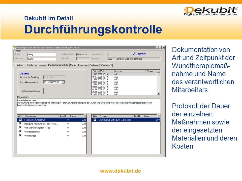 www.dekubit.de Erfassung der ärztlichen Verordnungen durch Auswahl aus einem Katalog Platzhalter für flexible Ein- gaben Auswahl der Therapie- maßnahm