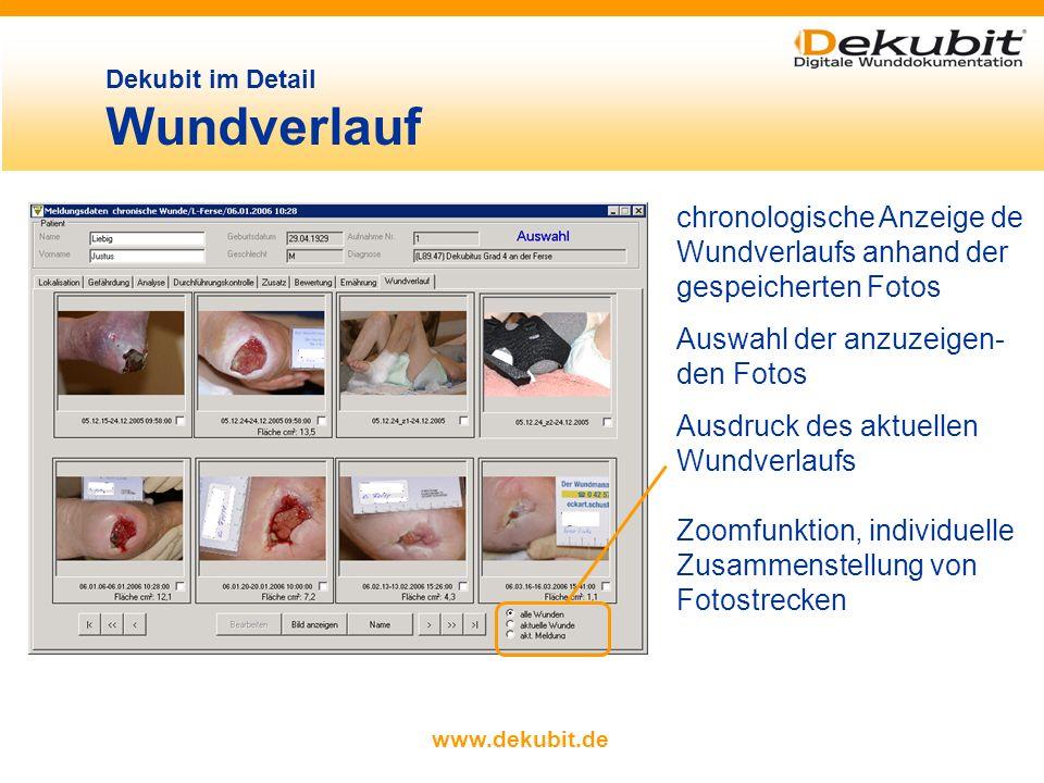 www.dekubit.de Dekubit im Detail Durchführungskontrolle Dokumentation von Art und Zeitpunkt der Wundtherapiemaß- nahme und Name des verantwortlichen M