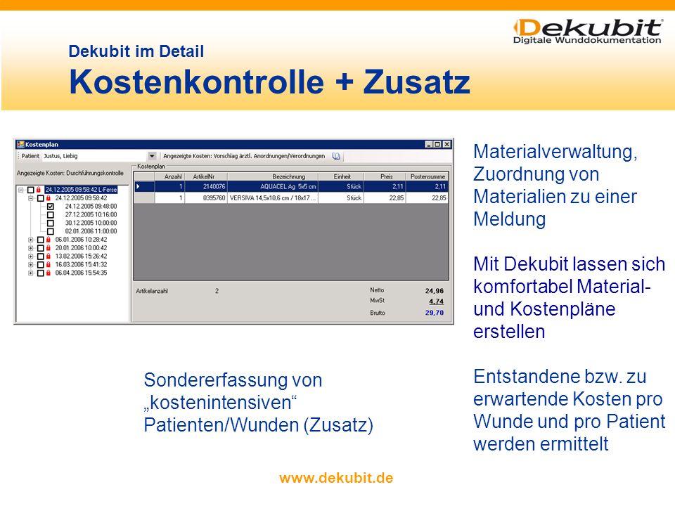 www.dekubit.de chronologische Anzeige de Wundverlaufs anhand der gespeicherten Fotos Auswahl der anzuzeigen- den Fotos Ausdruck des aktuellen Wundverl