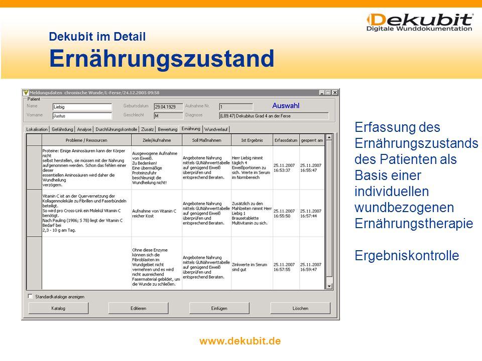 www.dekubit.de Materialverwaltung, Zuordnung von Materialien zu einer Meldung Mit Dekubit lassen sich komfortabel Material- und Kostenpläne erstellen