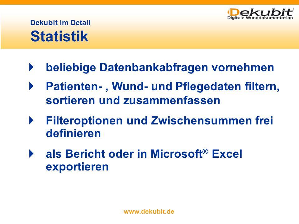 www.dekubit.de Dekubit im Detail Schmerzmanagement Schmerzprotokolle (Medikation einschließlich der Erfassung von Reaktionszeiten auf Medikamente)