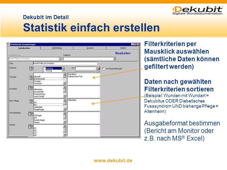 www.dekubit.de beliebige Datenbankabfragen vornehmen Patienten-, Wund- und Pflegedaten filtern, sortieren und zusammenfassen Filteroptionen und Zwisch