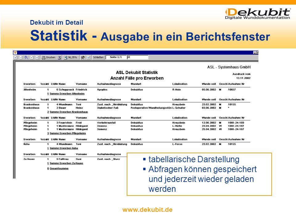 www.dekubit.de Filterkriterien per Mausklick auswählen (sämtliche Daten können gefiltert werden) Daten nach gewählten Filterkriterien sortieren (Beisp
