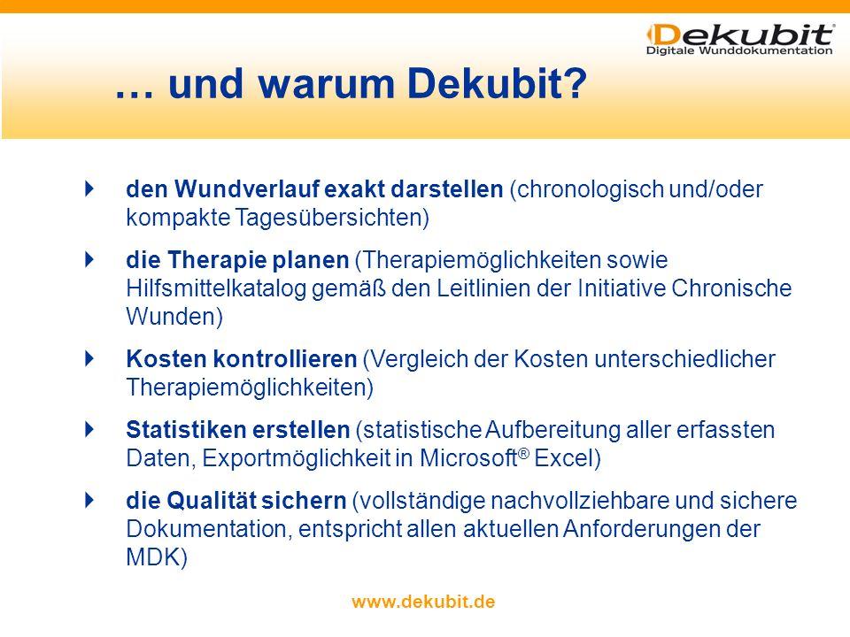 www.dekubit.de Mit Dekubit können Sie … Patienten- und Pflegedaten zentral verwalten (Patientendaten, Pflegedaten und Fotos in einer Datenbank) chroni