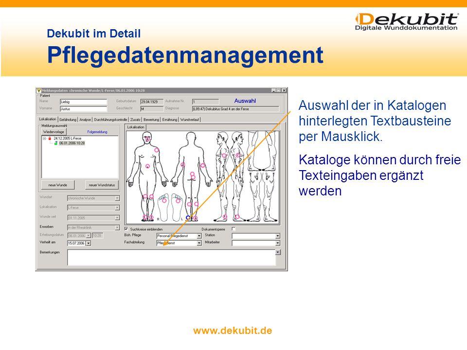 www.dekubit.de Auswahl der in Katalogen hinterlegten Textbausteine per Mausklick.
