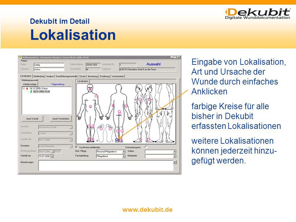 www.dekubit.de Auswahl der in Katalogen hinterlegten Textbausteine per Mausklick. Kataloge können durch freie Texteingaben ergänzt werden Dekubit im D