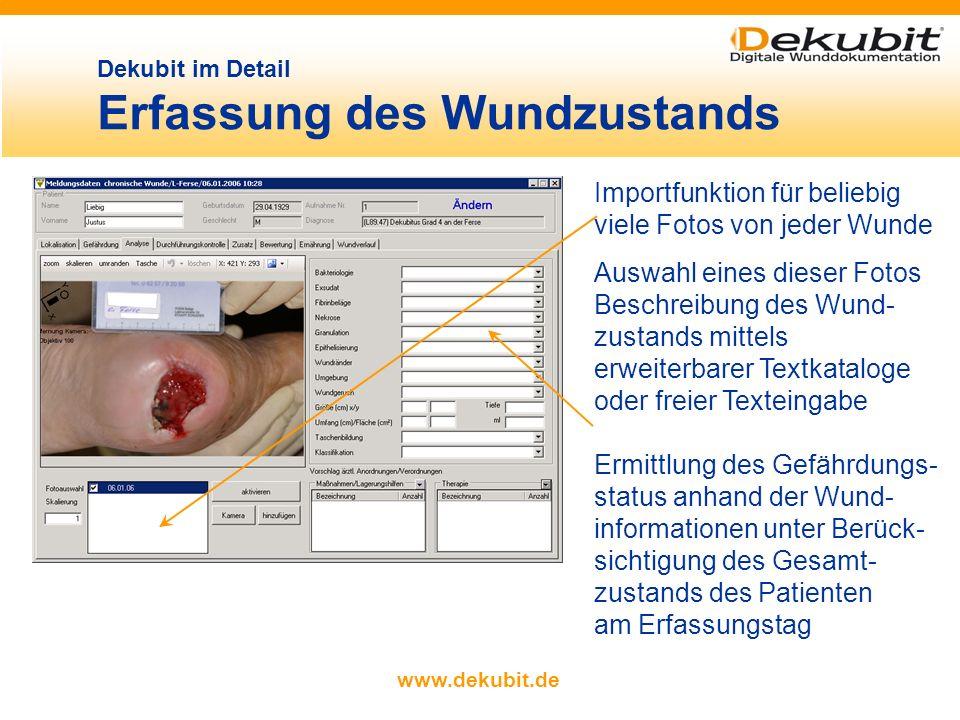 www.dekubit.de Eingabe von Lokalisation, Art und Ursache der Wunde durch einfaches Anklicken farbige Kreise für alle bisher in Dekubit erfassten Lokal