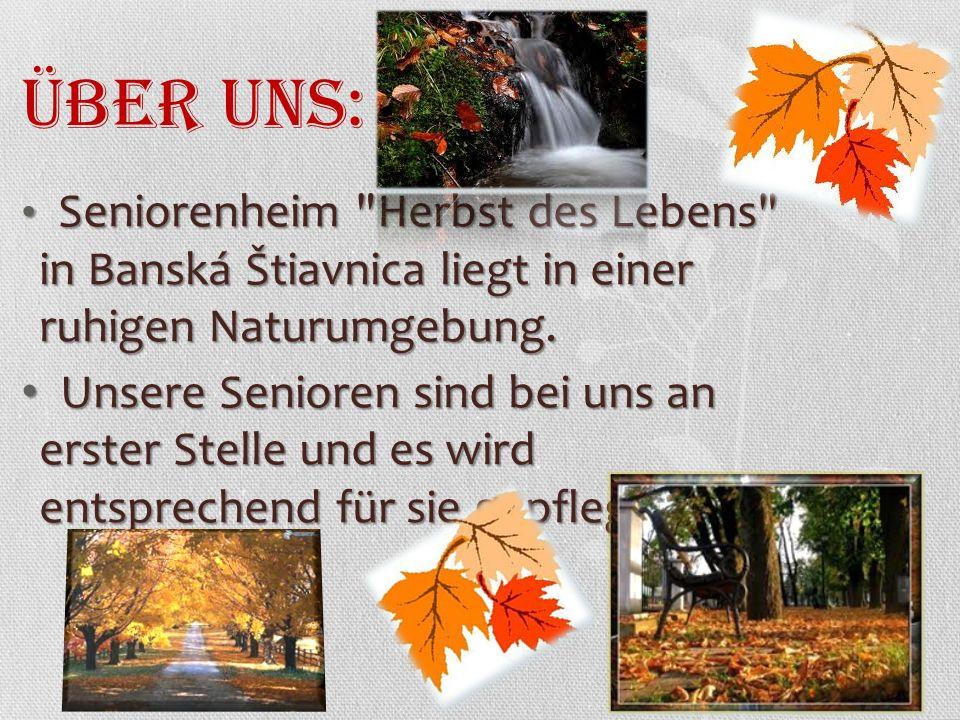 Über uns: Seniorenheim Herbst des Lebens in Banská Štiavnica liegt in einer ruhigen Naturumgebung.