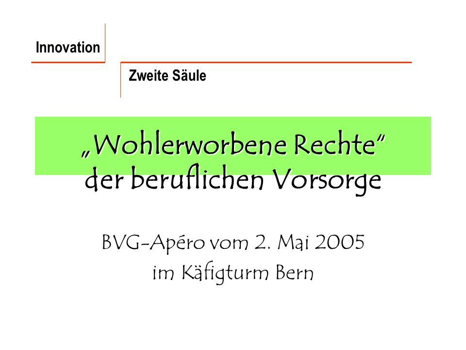 Wohlerworbene Rechte der beruflichen Vorsorge BVG-Apéro vom 2.