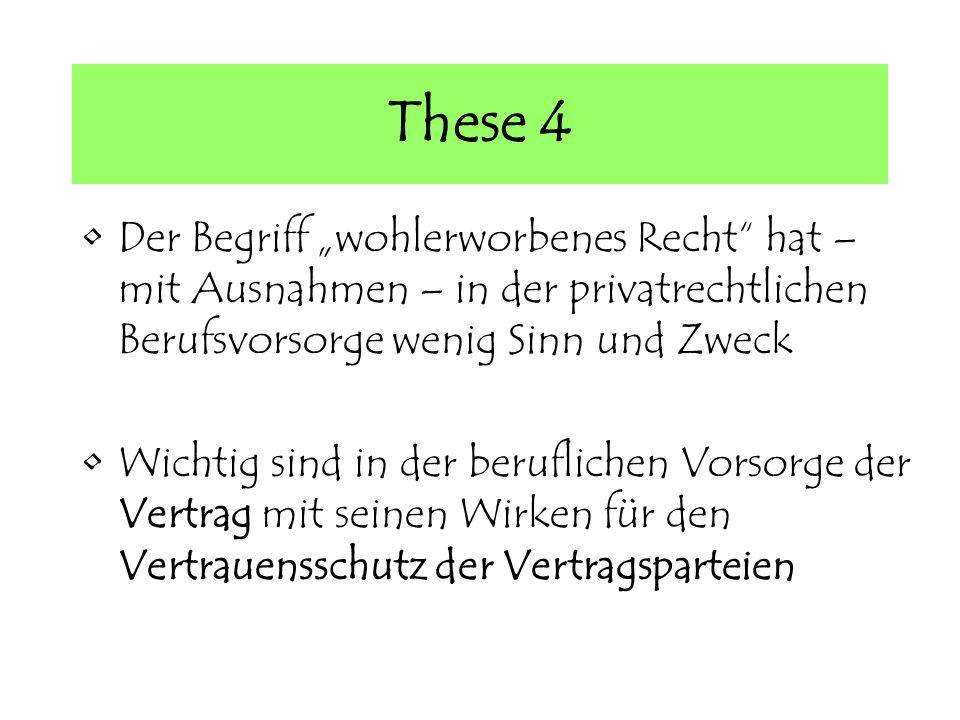 These 4 Der Begriff wohlerworbenes Recht hat – mit Ausnahmen – in der privatrechtlichen Berufsvorsorge wenig Sinn und Zweck Wichtig sind in der beruflichen Vorsorge der Vertrag mit seinen Wirken für den Vertrauensschutz der Vertragsparteien