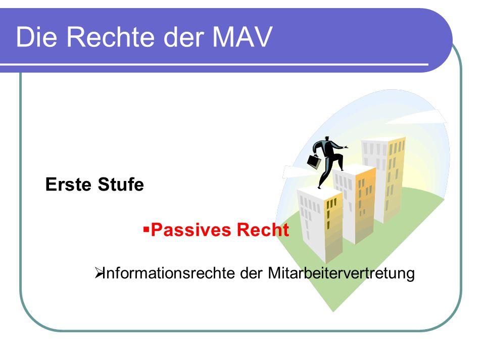 Die Rechte der MAV Erste Stufe Passives Recht Informationsrechte der Mitarbeitervertretung