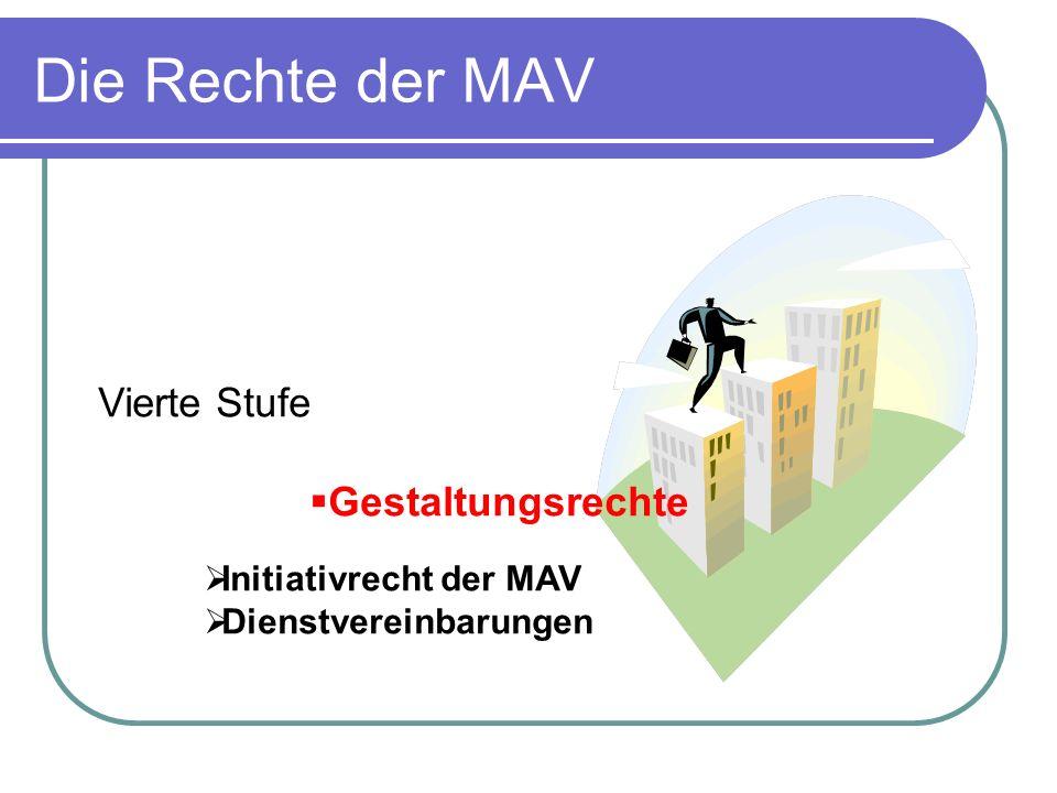 Die Rechte der MAV Vierte Stufe Gestaltungsrechte Initiativrecht der MAV Dienstvereinbarungen