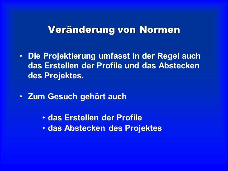 Veränderung von Normen Das kantonale Enteignungsamt kann ver- langen, dass Profile erstellt und das Projekt absteckt wird.Das kantonale Enteignungsamt