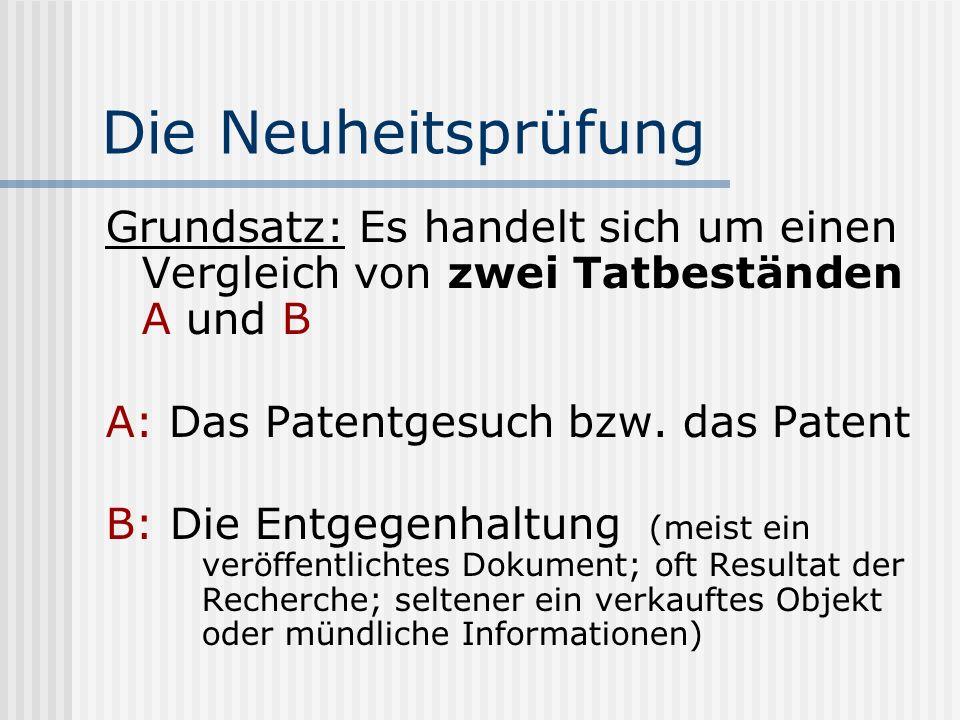 Die Neuheitsprüfung Grundsatz: Es handelt sich um einen Vergleich von zwei Tatbeständen A und B A: Das Patentgesuch bzw. das Patent B: Die Entgegenhal