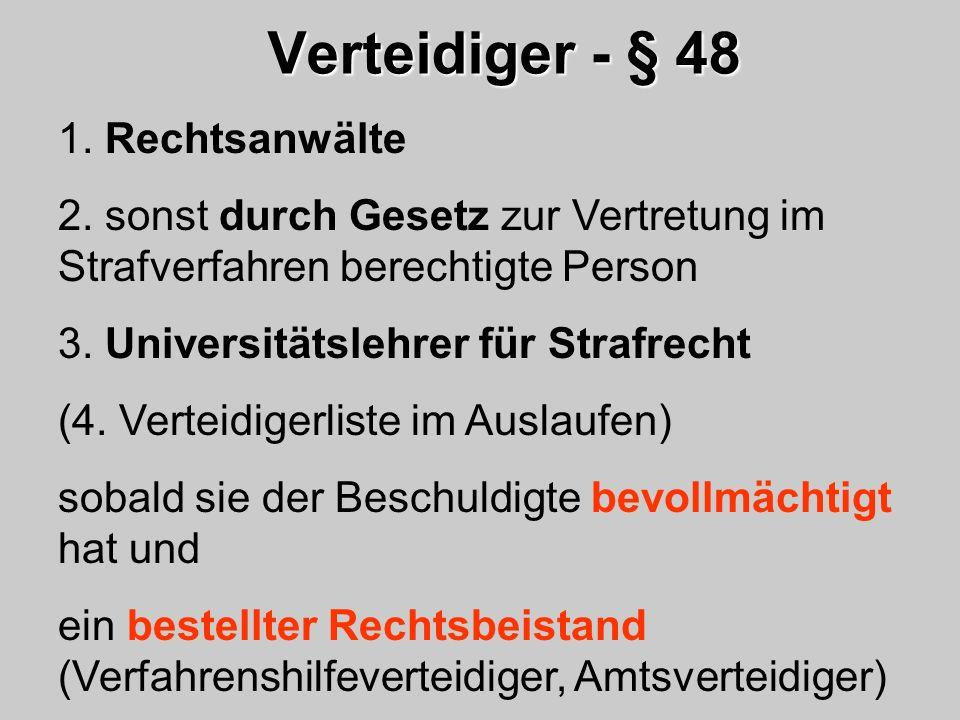 Verteidiger - § 48 1. Rechtsanwälte 2. sonst durch Gesetz zur Vertretung im Strafverfahren berechtigte Person 3. Universitätslehrer für Strafrecht (4.
