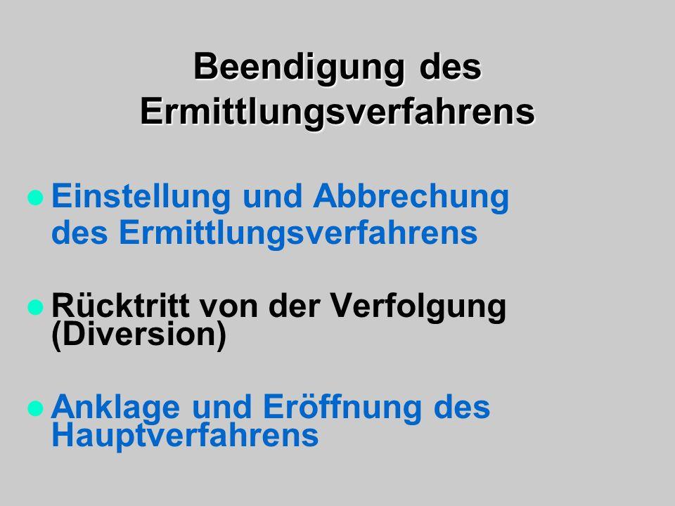 Beendigung des Ermittlungsverfahrens Einstellung und Abbrechung des Ermittlungsverfahrens Rücktritt von der Verfolgung (Diversion) Anklage und Eröffnu