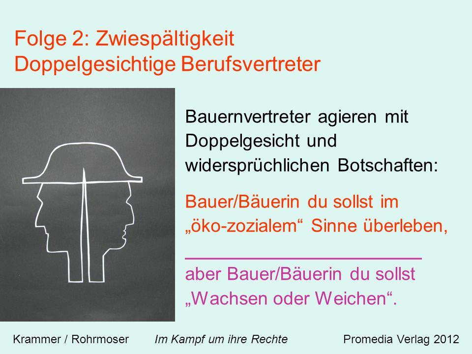Bauernvertreter agieren mit Doppelgesicht und widersprüchlichen Botschaften: Bauer/Bäuerin du sollst im öko-zozialem Sinne überleben, _______________________ aber Bauer/Bäuerin du sollst Wachsen oder Weichen.