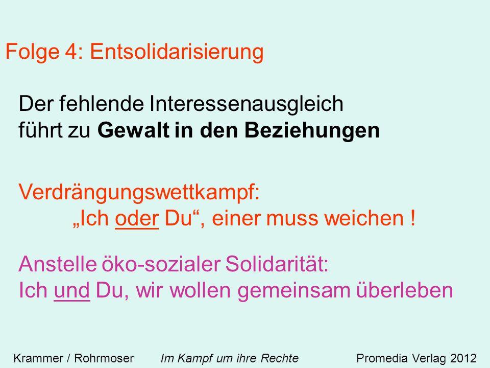 Folge 4: Entsolidarisierung Krammer / Rohrmoser Im Kampf um ihre RechtePromedia Verlag 2012 Der fehlende Interessenausgleich führt zu Gewalt in den Beziehungen Verdrängungswettkampf: Ich oder Du, einer muss weichen .
