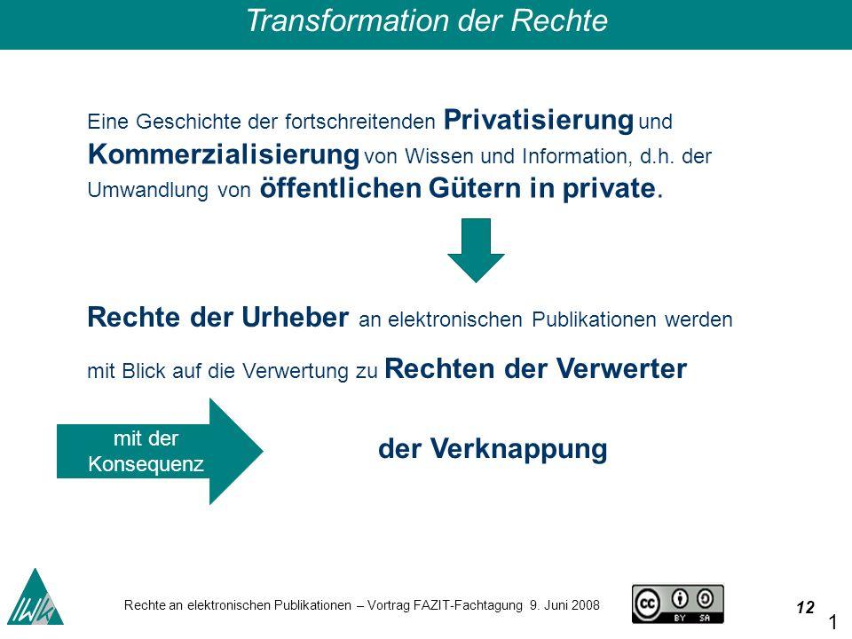 12 Rechte an elektronischen Publikationen – Vortrag FAZIT-Fachtagung 9.