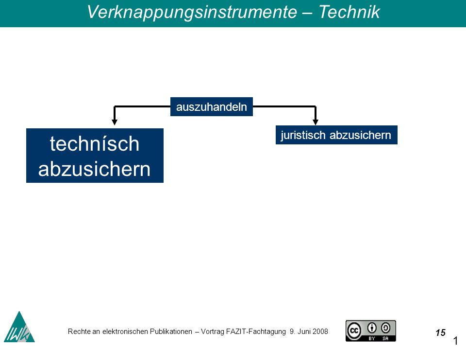 15 Rechte an elektronischen Publikationen – Vortrag FAZIT-Fachtagung 9.