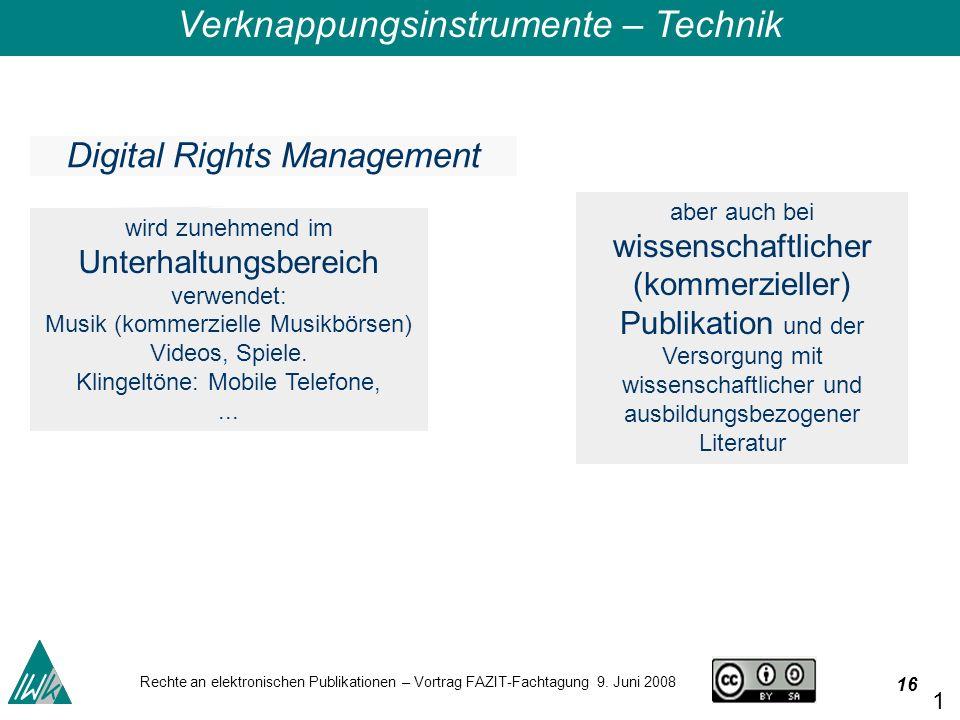 16 Rechte an elektronischen Publikationen – Vortrag FAZIT-Fachtagung 9.