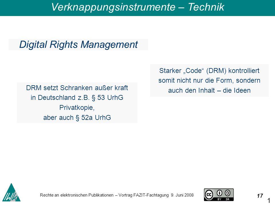 17 Rechte an elektronischen Publikationen – Vortrag FAZIT-Fachtagung 9.