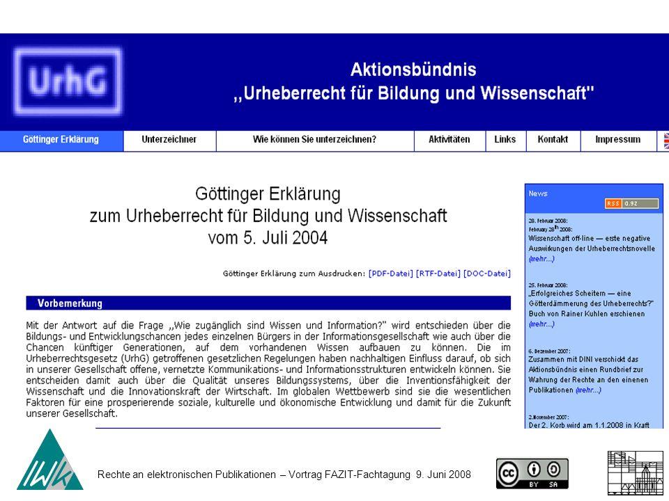 Rechte an elektronischen Publikationen – Vortrag FAZIT-Fachtagung 9. Juni 2008