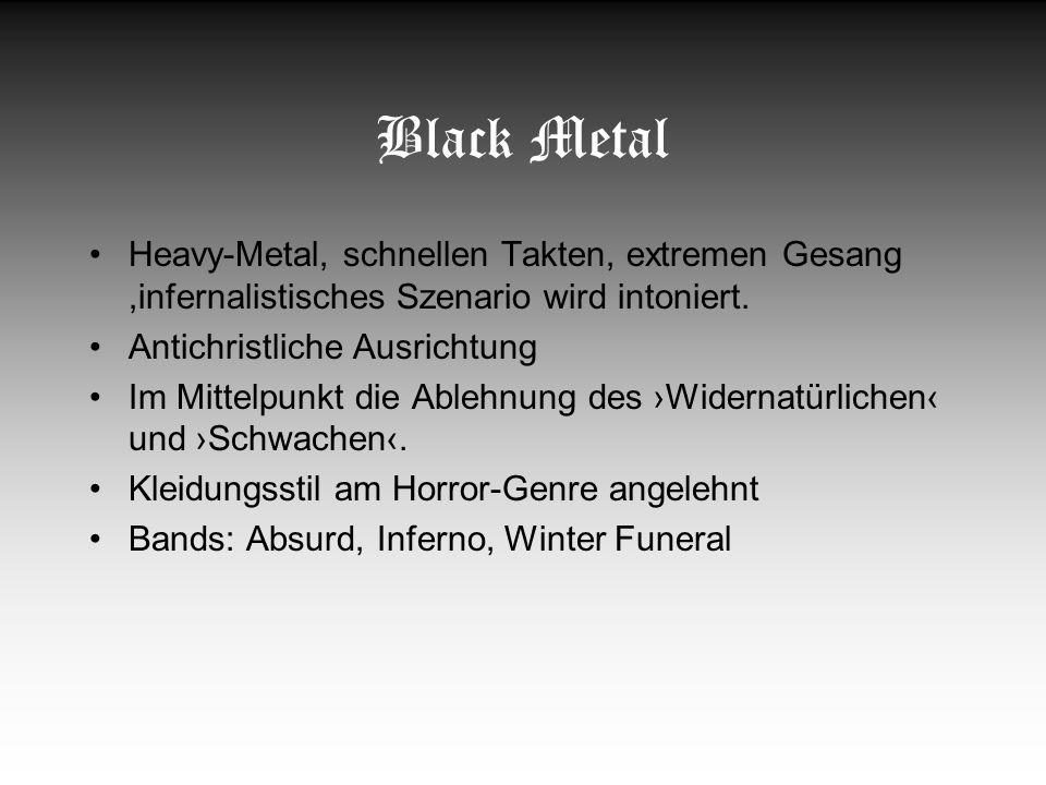 Hatecore musikalisch wie textlich brachiale Interpretation des Hardcore, schneller, eingängiger Punkrock transportierte ausschließlich Aggression und Hass Bands: White Aryan Rebels (Berlin/Brandenburg) und Hate Society (Bayern)