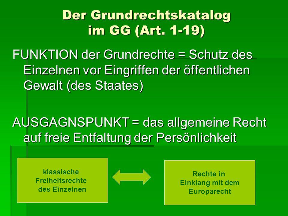 Der Grundrechtskatalog im GG (Art. 1-19) FUNKTION der Grundrechte = Schutz des Einzelnen vor Eingriffen der öffentlichen Gewalt (des Staates) AUSGAGNS