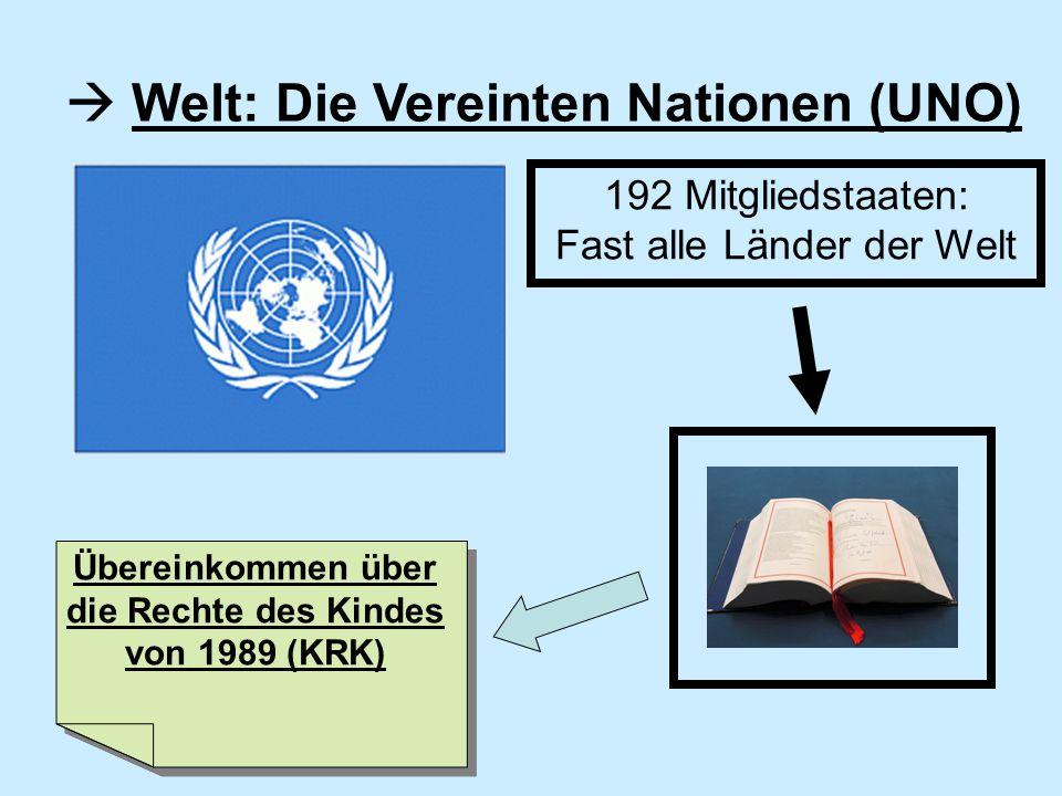 Welt: Die Vereinten Nationen (UNO) 192 Mitgliedstaaten: Fast alle Länder der Welt Übereinkommen über die Rechte des Kindes von 1989 (KRK)