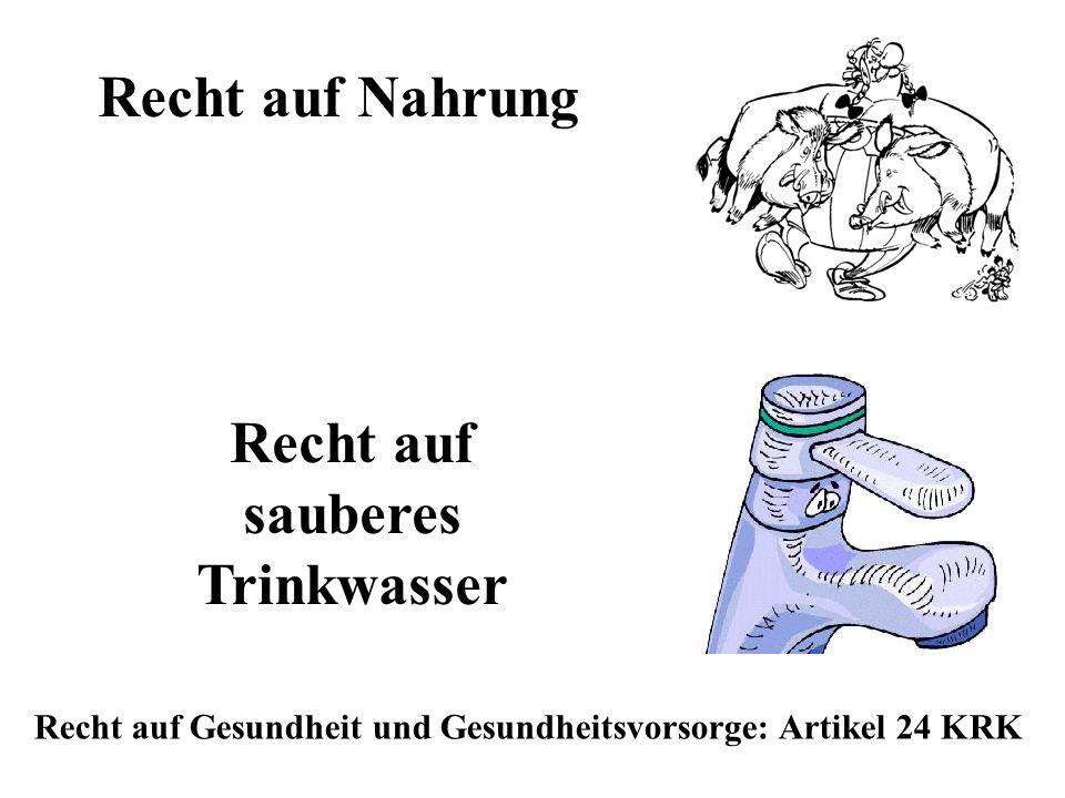 Recht auf Nahrung Recht auf Gesundheit und Gesundheitsvorsorge: Artikel 24 KRK Recht auf sauberes Trinkwasser