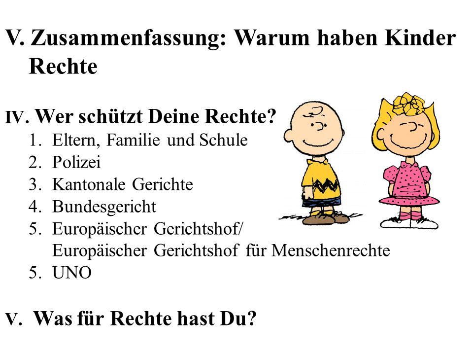 V.Zusammenfassung: Warum haben Kinder Rechte IV. Wer schützt Deine Rechte.