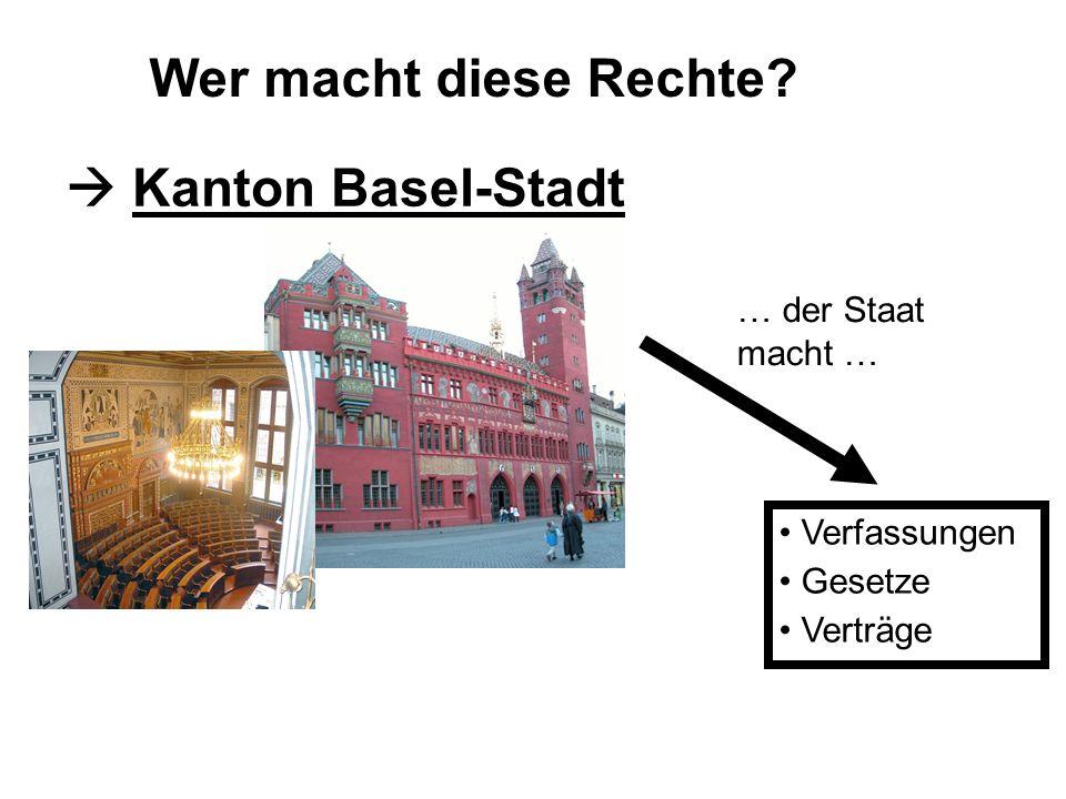 Wer macht diese Rechte? Kanton Basel-Stadt Verfassungen Gesetze Verträge … der Staat macht …