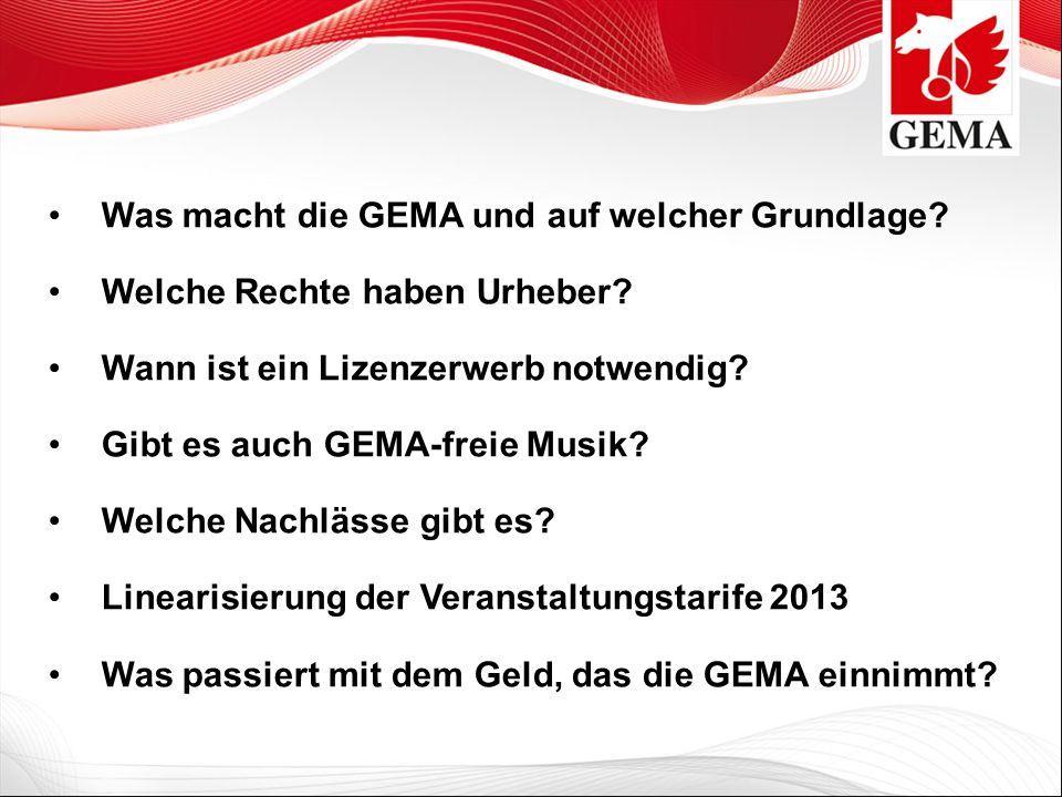 Der Weg zur Lizenz 1.Meldung der geplanten Musiknutzung an die GEMA Bezirksdirektion bzw.