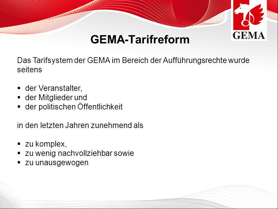 GEMA-Tarifreform Das Tarifsystem der GEMA im Bereich der Aufführungsrechte wurde seitens der Veranstalter, der Mitglieder und der politischen Öffentli