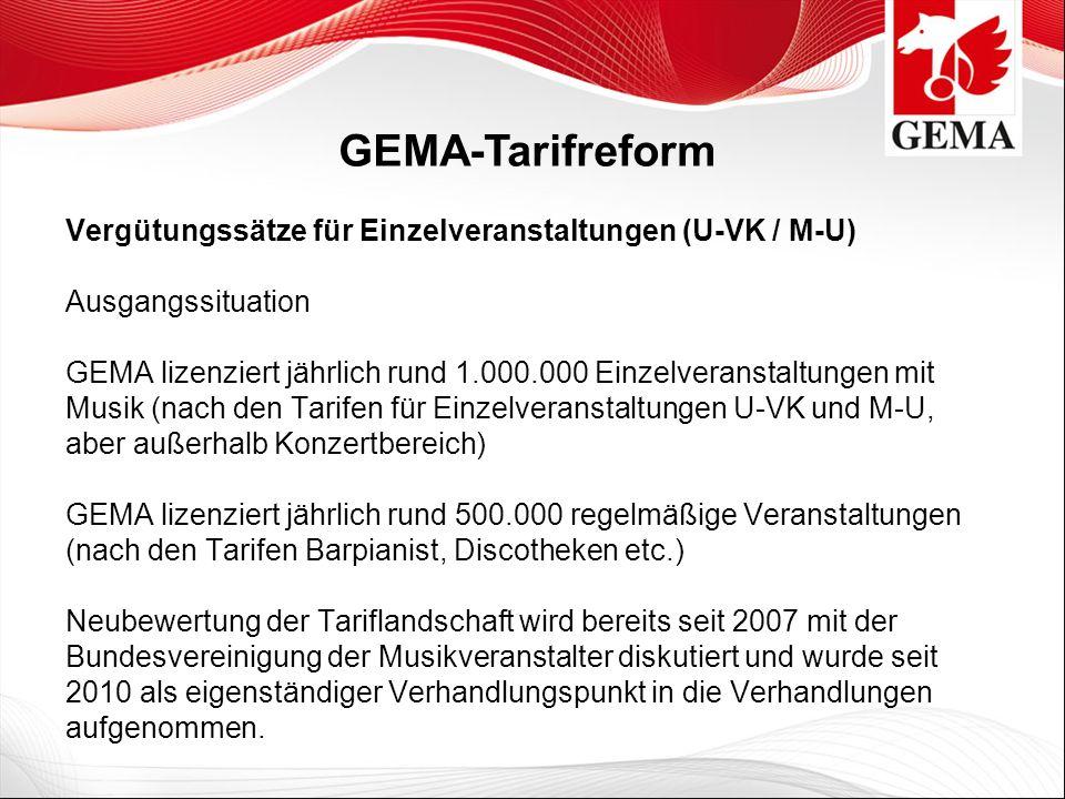 Vergütungssätze für Einzelveranstaltungen (U-VK / M-U) Ausgangssituation GEMA lizenziert jährlich rund 1.000.000 Einzelveranstaltungen mit Musik (nach