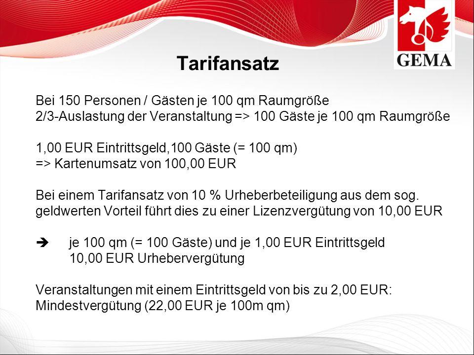 Tarifansatz Bei 150 Personen / Gästen je 100 qm Raumgröße 2/3-Auslastung der Veranstaltung => 100 Gäste je 100 qm Raumgröße 1,00 EUR Eintrittsgeld,100