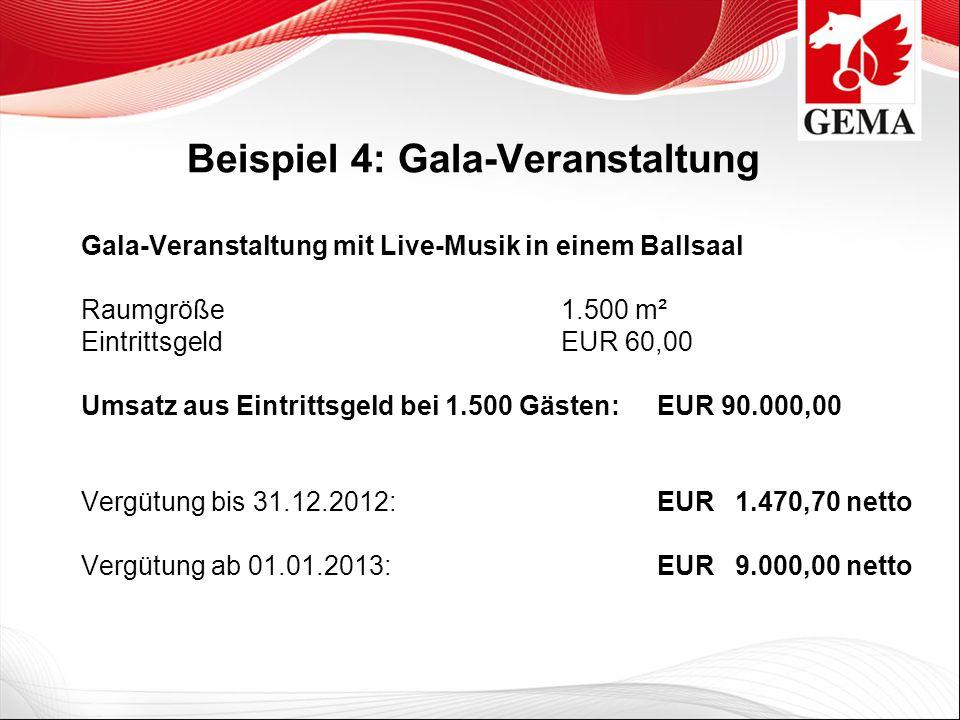 Beispiel 4: Gala-Veranstaltung Gala-Veranstaltung mit Live-Musik in einem Ballsaal Raumgröße 1.500 m² Eintrittsgeld EUR 60,00 Umsatz aus Eintrittsgeld