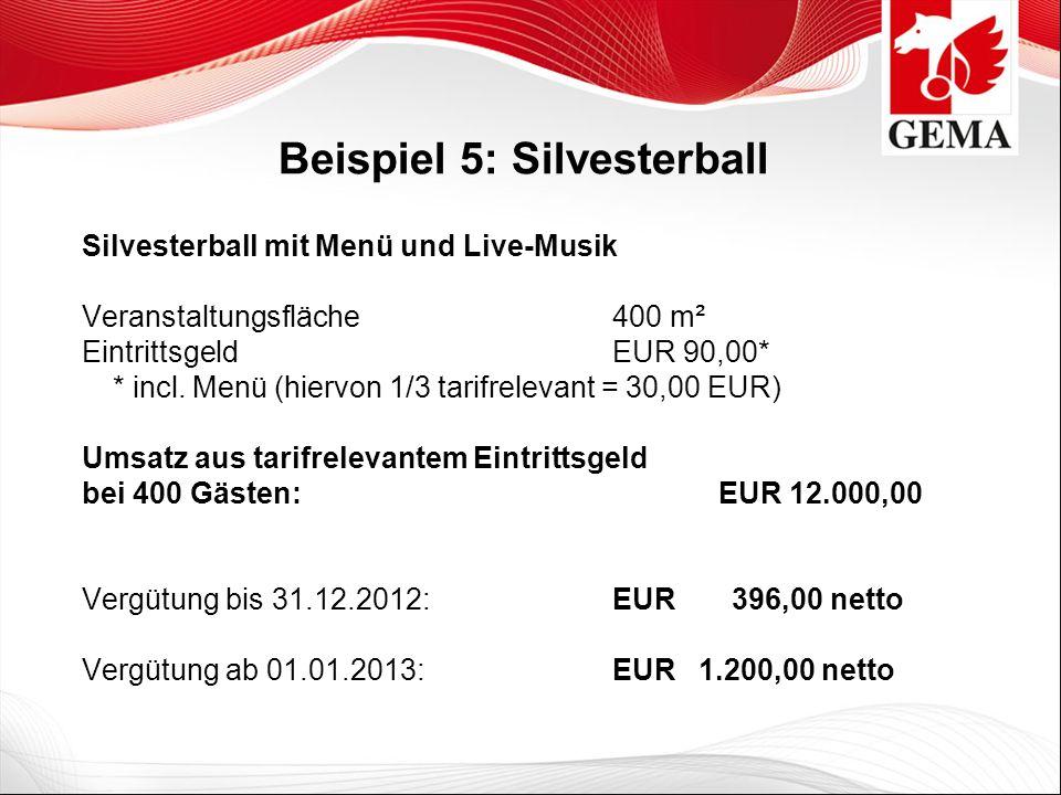 Beispiel 5: Silvesterball Silvesterball mit Menü und Live-Musik Veranstaltungsfläche 400 m² Eintrittsgeld EUR 90,00* * incl. Menü (hiervon 1/3 tarifre