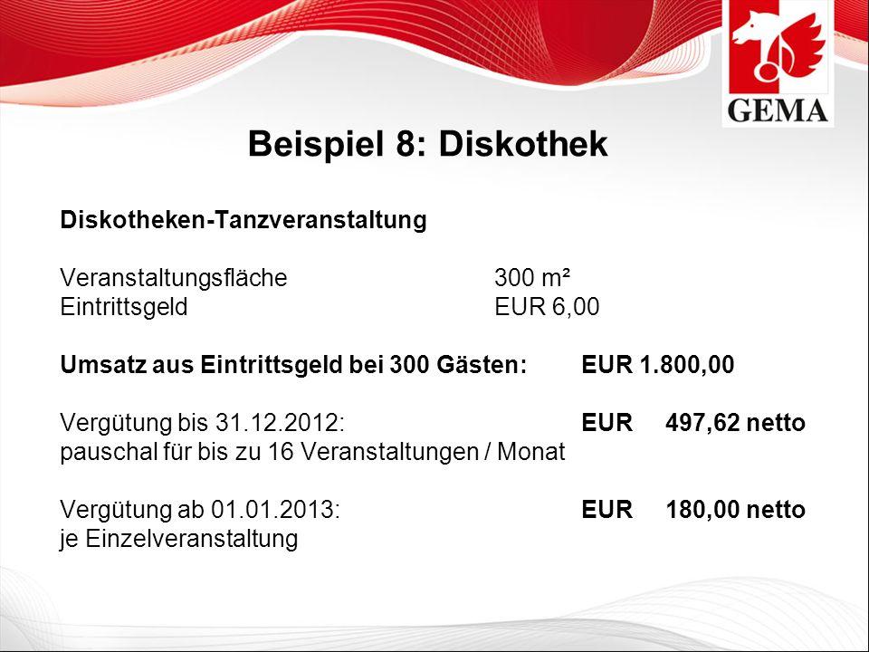 Beispiel 8: Diskothek Diskotheken-Tanzveranstaltung Veranstaltungsfläche 300 m² Eintrittsgeld EUR 6,00 Umsatz aus Eintrittsgeld bei 300 Gästen:EUR 1.8