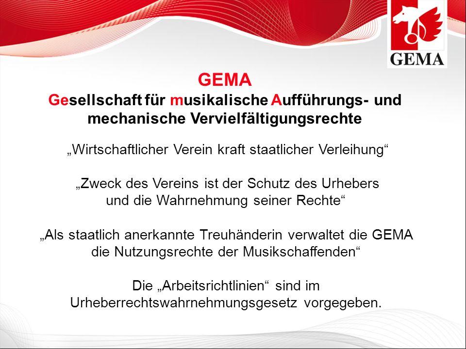 GEMA- Mitglieder (64.778) Angeschlossene Mitglieder (55.888) Außerordentliche Mitglieder (5.102) Ordentliche Mitglieder (3.788) Diese Unterscheidung hat keinerlei Auswirkungen bei der Wahrnehmung der Rechte gegenüber den Musiknutzern oder der Verteilung des Aufkommens.