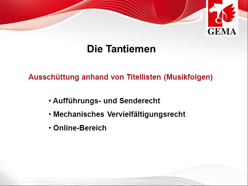Die Tantiemen Aufführungs- und Senderecht Mechanisches Vervielfältigungsrecht Online-Bereich Ausschüttung anhand von Titellisten (Musikfolgen)