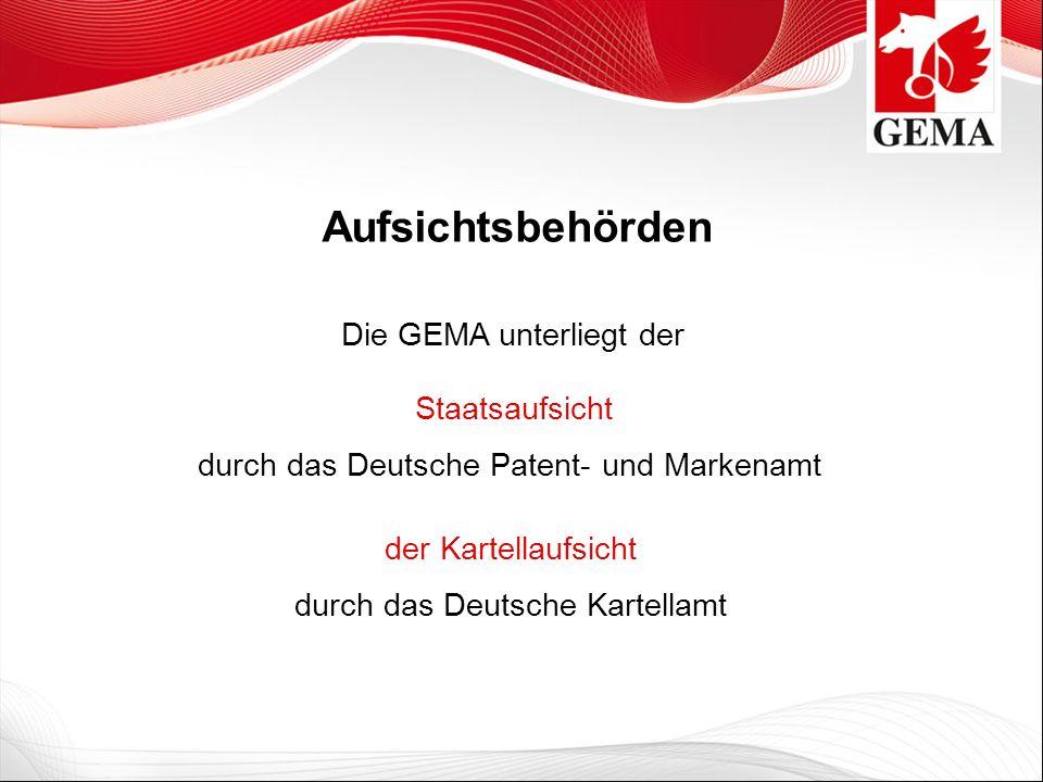 Die GEMA unterliegt der Aufsichtsbehörden Staatsaufsicht durch das Deutsche Patent- und Markenamt der Kartellaufsicht durch das Deutsche Kartellamt