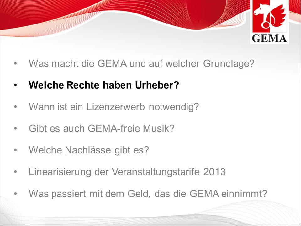 Gesamtverträge Die GEMA hat mit zahlreichen deutschen Verbänden Gesamtverträge geschlossen.