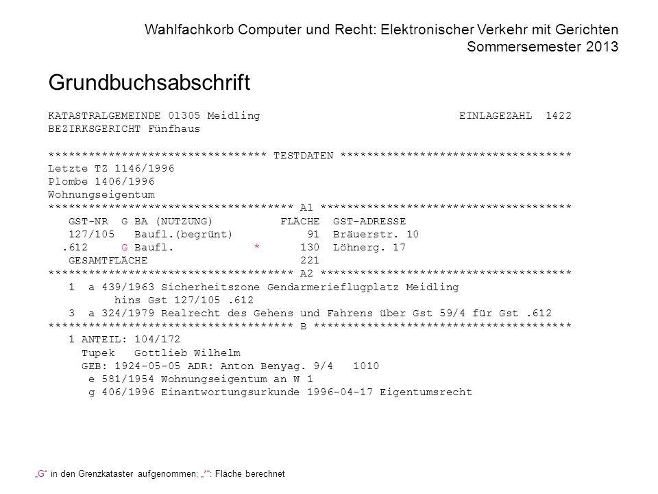Wahlfachkorb Computer und Recht: Elektronischer Verkehr mit Gerichten Sommersemester 2013 Grundbuchsabschrift KATASTRALGEMEINDE 01305 Meidling EINLAGE