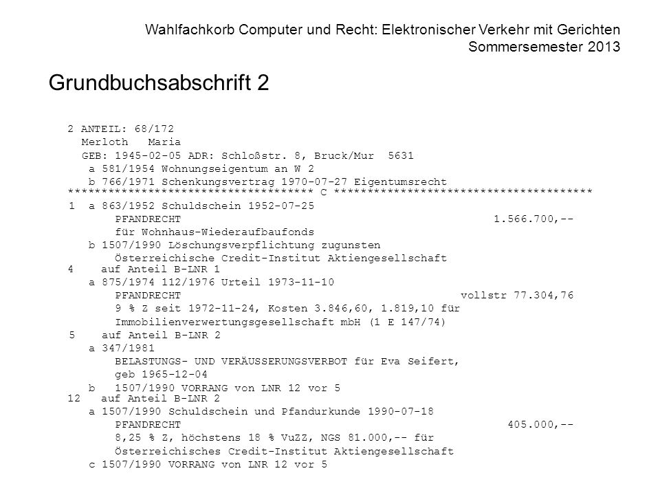 Wahlfachkorb Computer und Recht: Elektronischer Verkehr mit Gerichten Sommersemester 2013 Grundbuchsabschrift 2 2 ANTEIL: 68/172 Merloth Maria GEB: 19