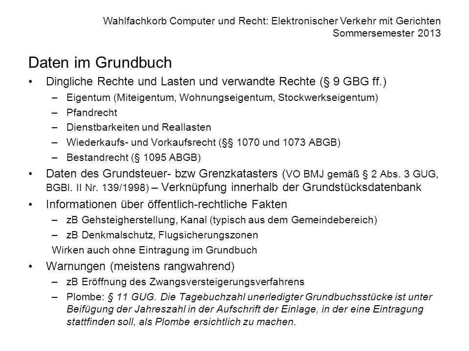 Wahlfachkorb Computer und Recht: Elektronischer Verkehr mit Gerichten Sommersemester 2013 Daten im Grundbuch Dingliche Rechte und Lasten und verwandte