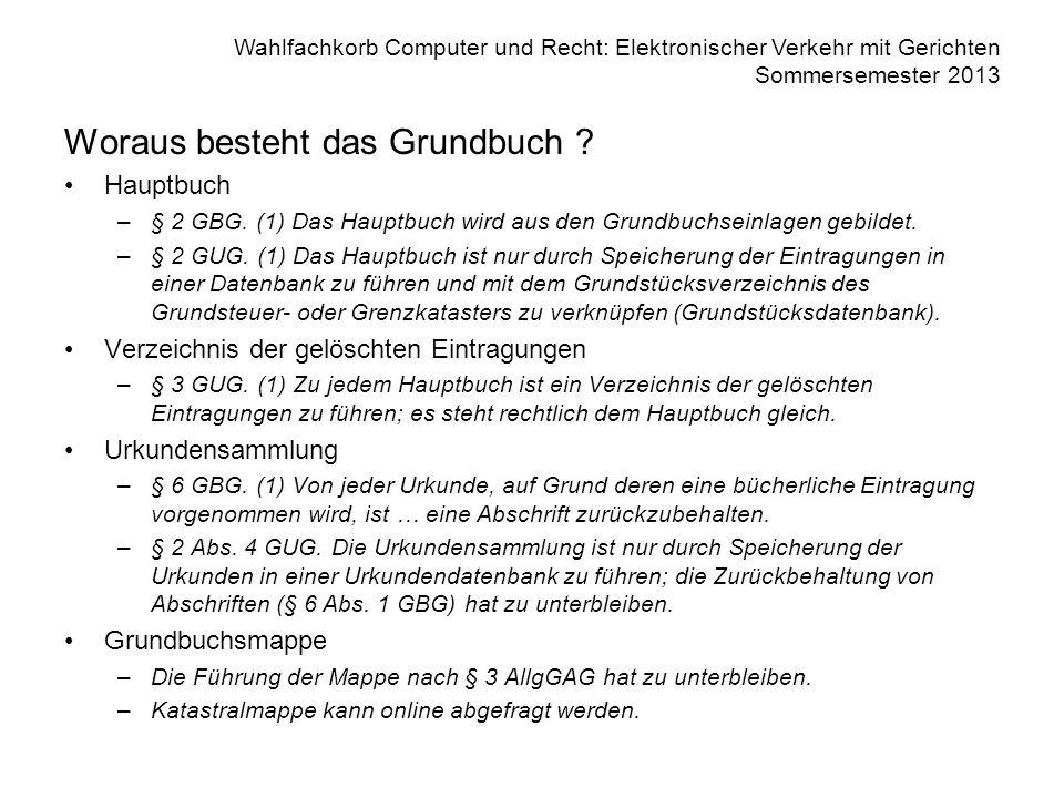 Wahlfachkorb Computer und Recht: Elektronischer Verkehr mit Gerichten Sommersemester 2013 Woraus besteht das Grundbuch ? Hauptbuch –§ 2 GBG. (1) Das H