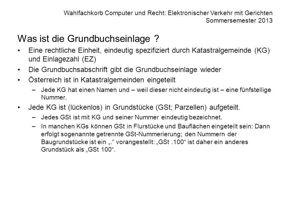 Wahlfachkorb Computer und Recht: Elektronischer Verkehr mit Gerichten Sommersemester 2013 Was ist die Grundbuchseinlage ? Eine rechtliche Einheit, ein